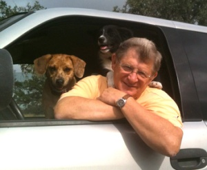 Yours truly ready to work on the ranch with assistants Jack and Bella.