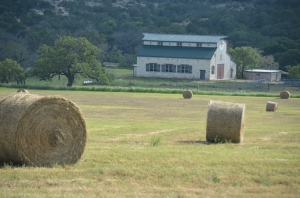 Hay bales and Hay Barn