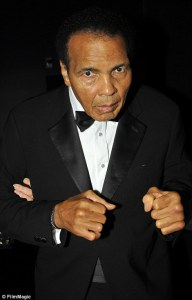 The blank staring facial expression of PD in Muhammad Ali