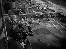 B-25 bombers awaiting takeoff from the deck of the Hornet