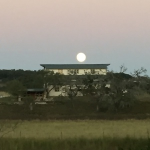 Moon Rising Over Barn