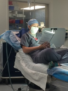 This young reader gave me a great morale boost by reading my book between surgical cases